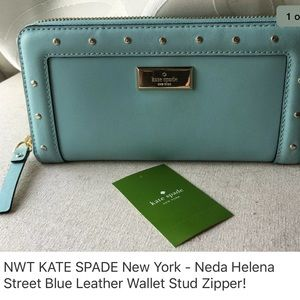 NWT KATE SPADE New York Blue Stud Leather Wallet